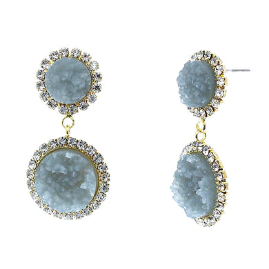Slate Blue Faux Geode Stone And Clear Crystal Accented Two Tiered Gold Tone Post Setting Fashion Earrings