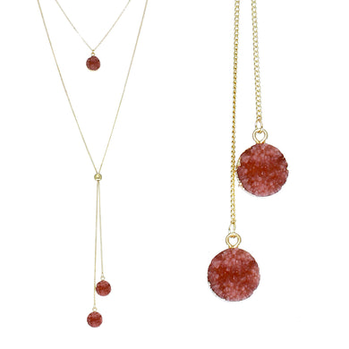 Blush Red Faux Geode Crystal Gold-tone Necklace Adjustable Gold-tone Bead For Dangling Geode Pendants