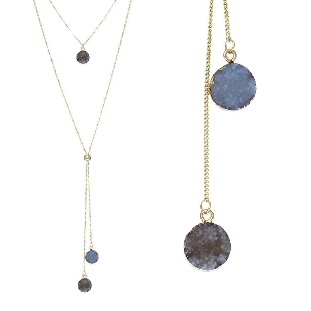 Slate Blue Faux Geode Crystal Gold-tone Necklace Adjustable Gold-tone Bead For Dangling Geode Pendants