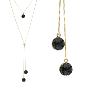 Jet Black Faux Geode Crystal Gold-tone Necklace Adjustable Gold-tone Bead For Dangling Geode Pendants