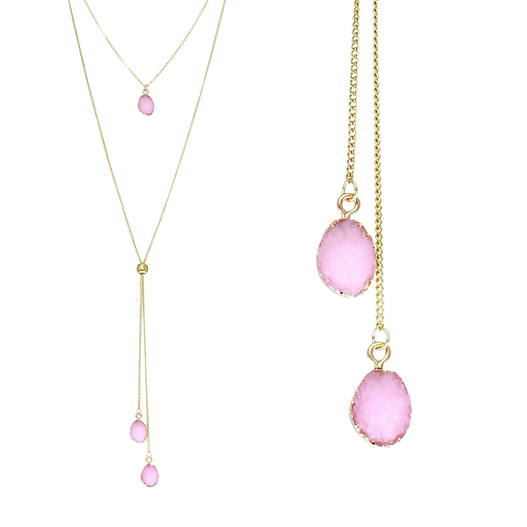 Blush Pink Faux Geode Crystal Gold-tone Necklace Adjustable Gold-tone Bead For Dangling Geode Pendants