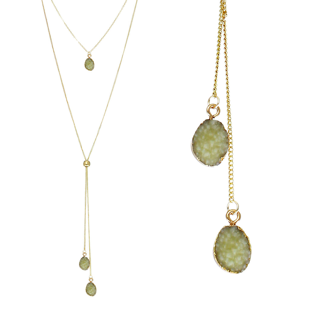 Jade Green Faux Geode Crystal Gold-tone Necklace Adjustable Gold-tone Bead For Dangling Geode Pendants