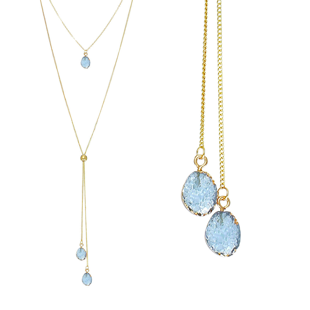 Bright Blue Faux Geode Crystal Gold-tone Necklace Adjustable Gold-tone Bead For Dangling Geode Pendants