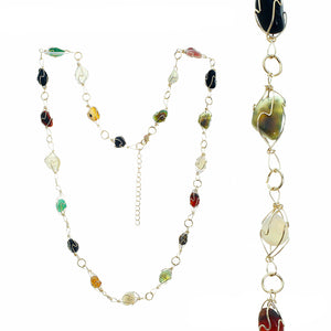 Adjustable Gold-tone Wire Necklace With Multiple Polished Jet, Jade, Amber, Topaz, Clear And White Stones In Settings