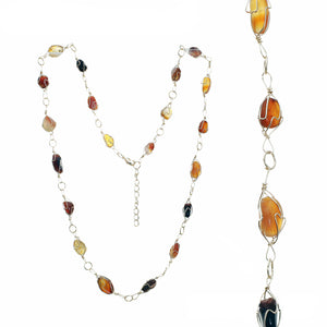 Adjustable Gold-tone Wire Necklace With Multiple Smooth Amber And Topaz Toned Stones In Gold-tone Wire Settings