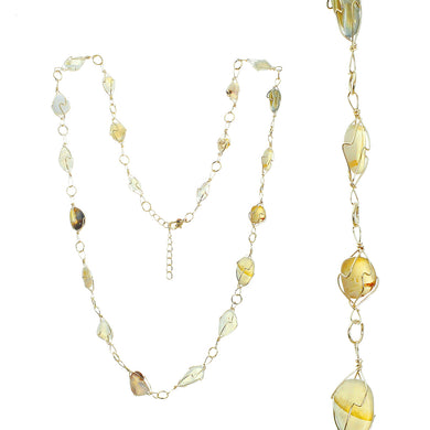 Adjustable Gold-tone Wire Necklace With Multiple Smooth Clear And Yellow Topaz Toned Stones In Gold-tone Wire Settings