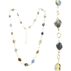 Adjustable Gold-tone Wire Necklace With Multiple Smooth Blue And Yellow Topaz Toned Stones In Gold-tone Wire Settings