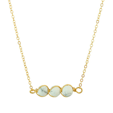 Gold Tone Chain Necklace With Three Round White And Gray Marble Toned Stones In Wire Pendant