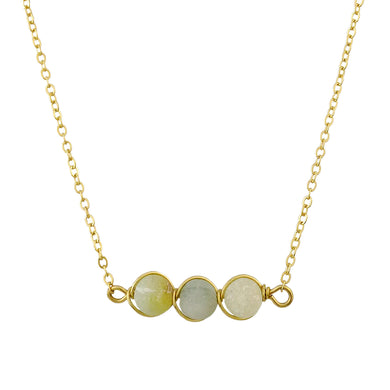 Gold Tone Chain Necklace With Three Round Jade And Earth Tone Marble Toned Stones In Wire Pendant