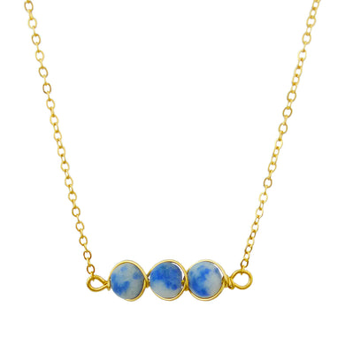 Gold Tone Chain Necklace With Three Round White And Blue Marble Toned Stones In Wire Pendant