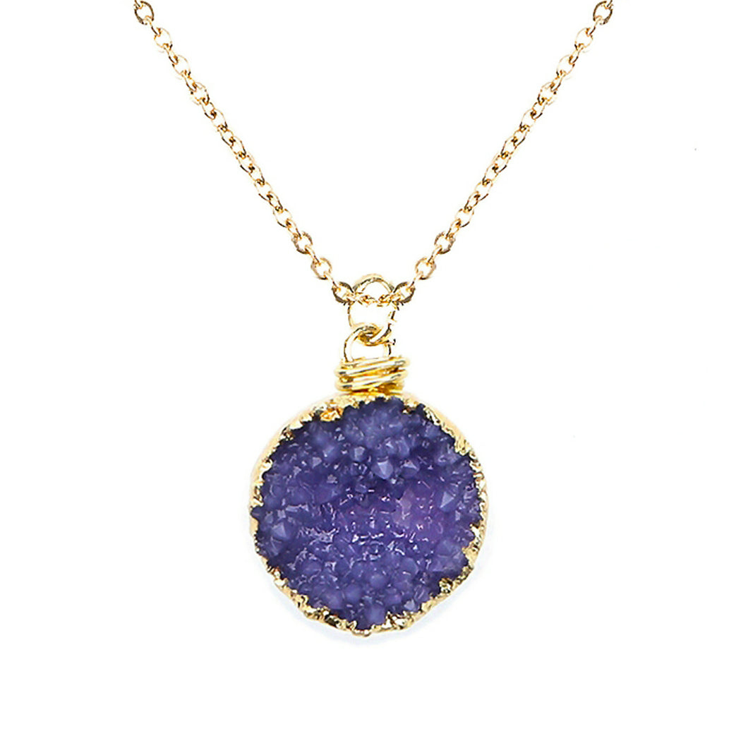 Purple Tone Faux Geode Crystal Gold-tone Pendant On Exciting Adjustable Gold-tone Chain Link Necklace