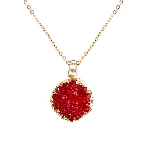 Bright Red Tone Faux Geode Crystal Gold-tone Pendant On Exciting Adjustable Gold-tone Chain Link Necklace