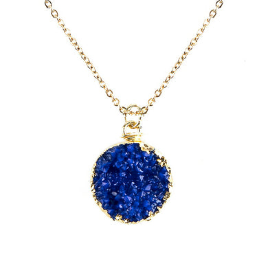 Royal Blue Toned Faux Geode Crystal Gold-tone Pendant On Exciting Adjustable Gold-tone Chain Link Necklace