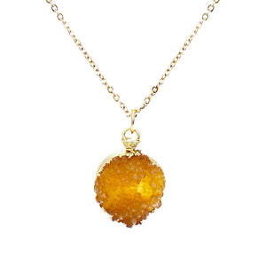 Golden Amber Tone Faux Geode Crystal Gold-tone Pendant On Exciting Adjustable Gold-tone Chain Link Necklace