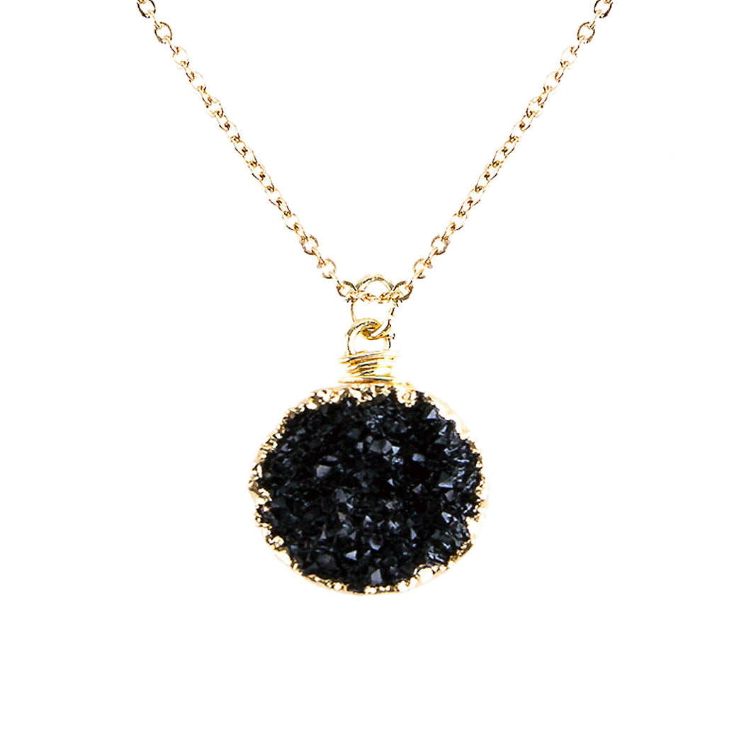 Jet Black Tone Faux Geode Crystal Gold-tone Pendant On Exciting Adjustable Gold-tone Chain Link Necklace