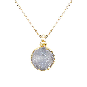 Bright White Tone Faux Geode Crystal Gold-tone Pendant On Exciting Adjustable Gold-tone Chain Link Necklace