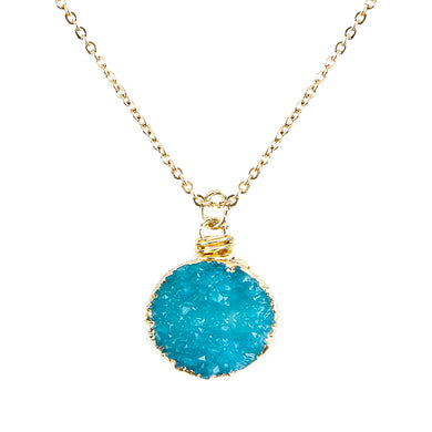 Aquamarine Tone Faux Geode Crystal Gold-tone Pendant On Exciting Adjustable Gold-tone Chain Link Necklace