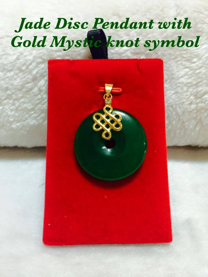 Jade Disc Pendant With Gold Mystic Knot Symbol Heartyshop Ph