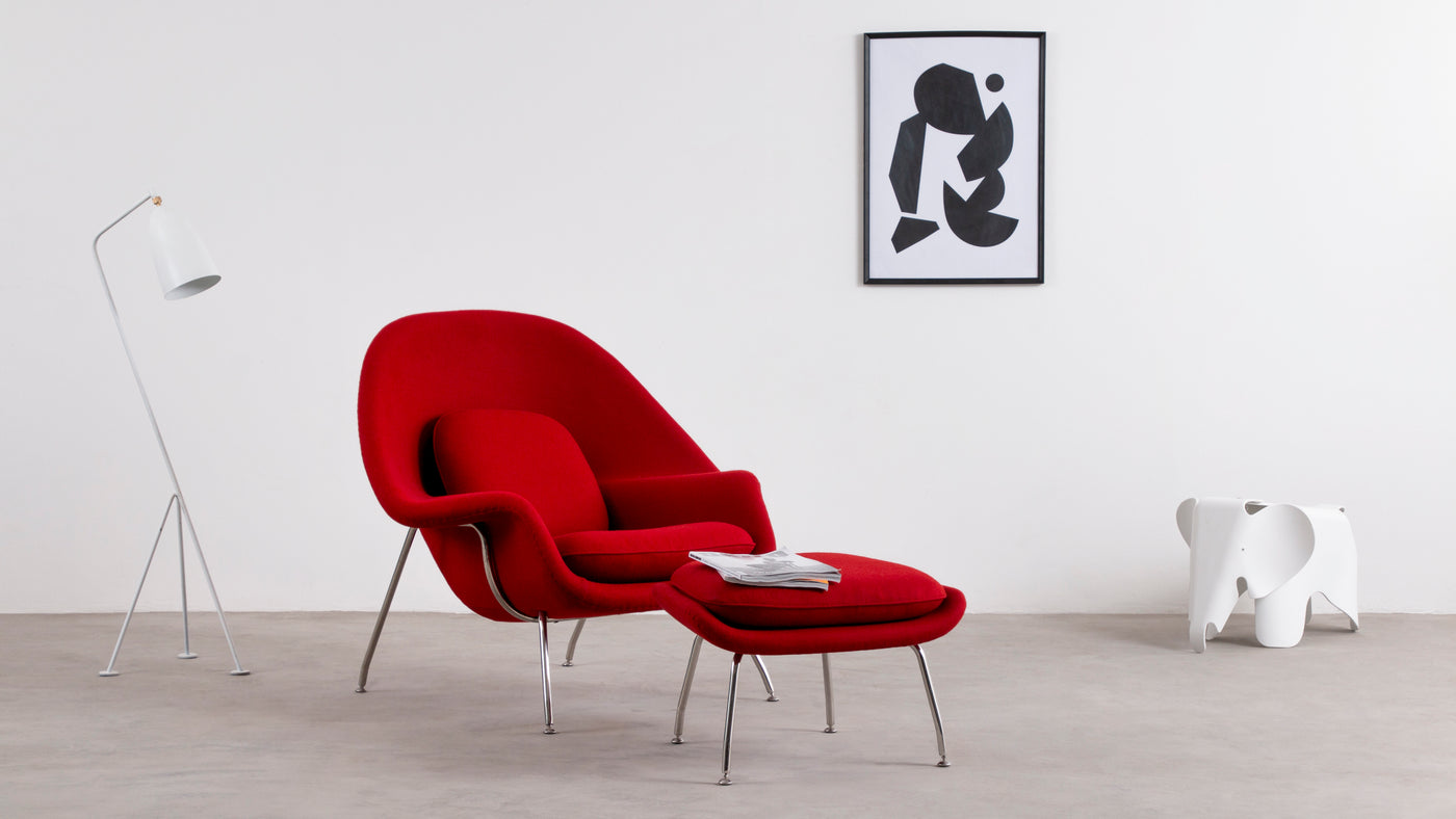 Dual designer inspiration|Inspired by his designer friend Florence Knoll, who challenged Saarinen with the task of designing a cozy, relaxing chair worthy of curling up in, Saarinen didn't waste any time creating just what Knoll had asked for. Gleaning its name from the shape of the chair and the way it cradles the human form, the Womb Chair is perhaps the comfiest, coziest seating solution in designer history.
