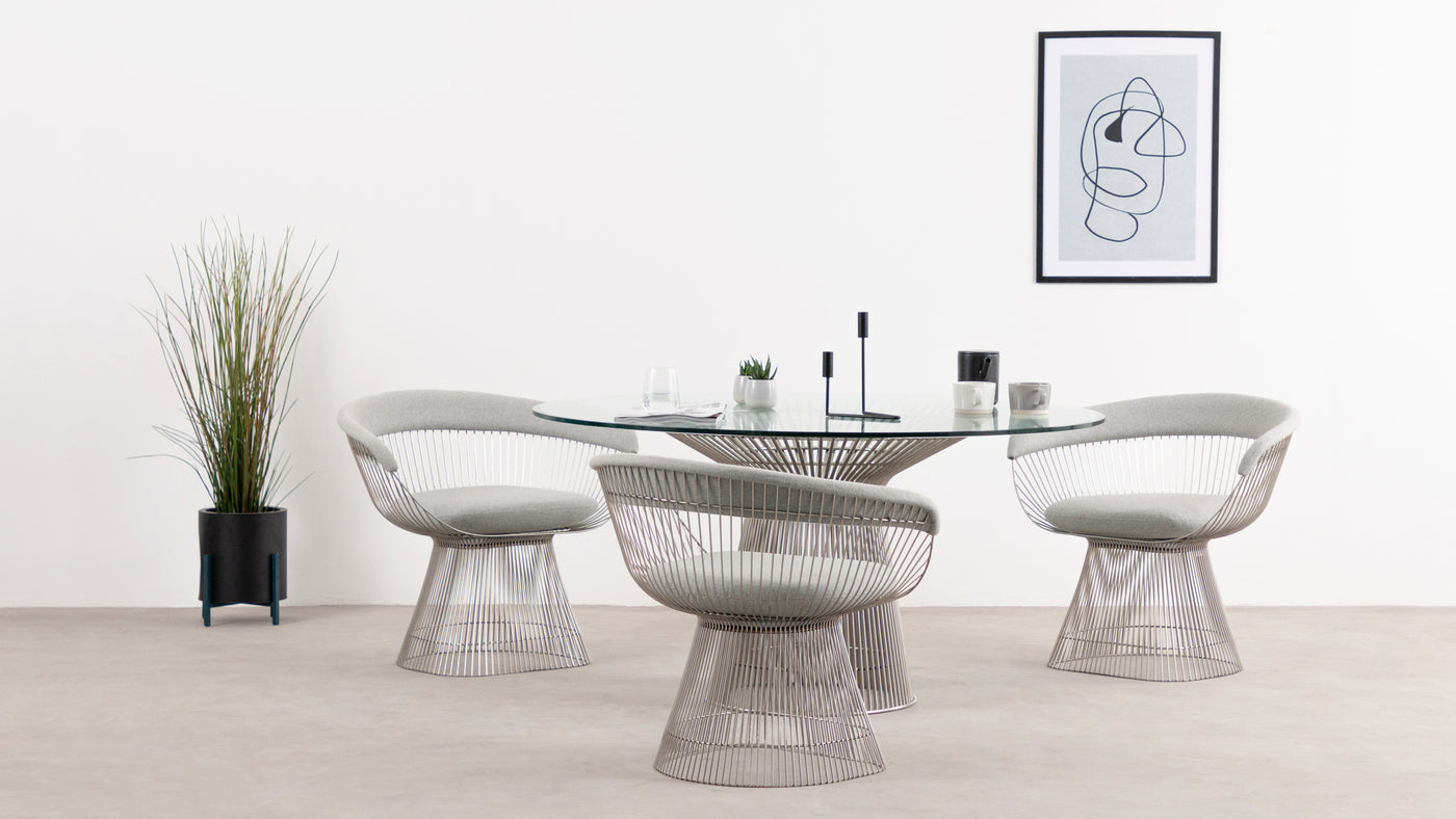 Minimalism meets industrial flair|First introduced in the 1960s by American architect and interior designer Warren Platner, this revolutionary chair is a modern marvel. The meticulously constructed seating solution appeals to the minimalist at heart, but the industrial vibe it portrays is undeniable. It's the perfect fusion of form and function.