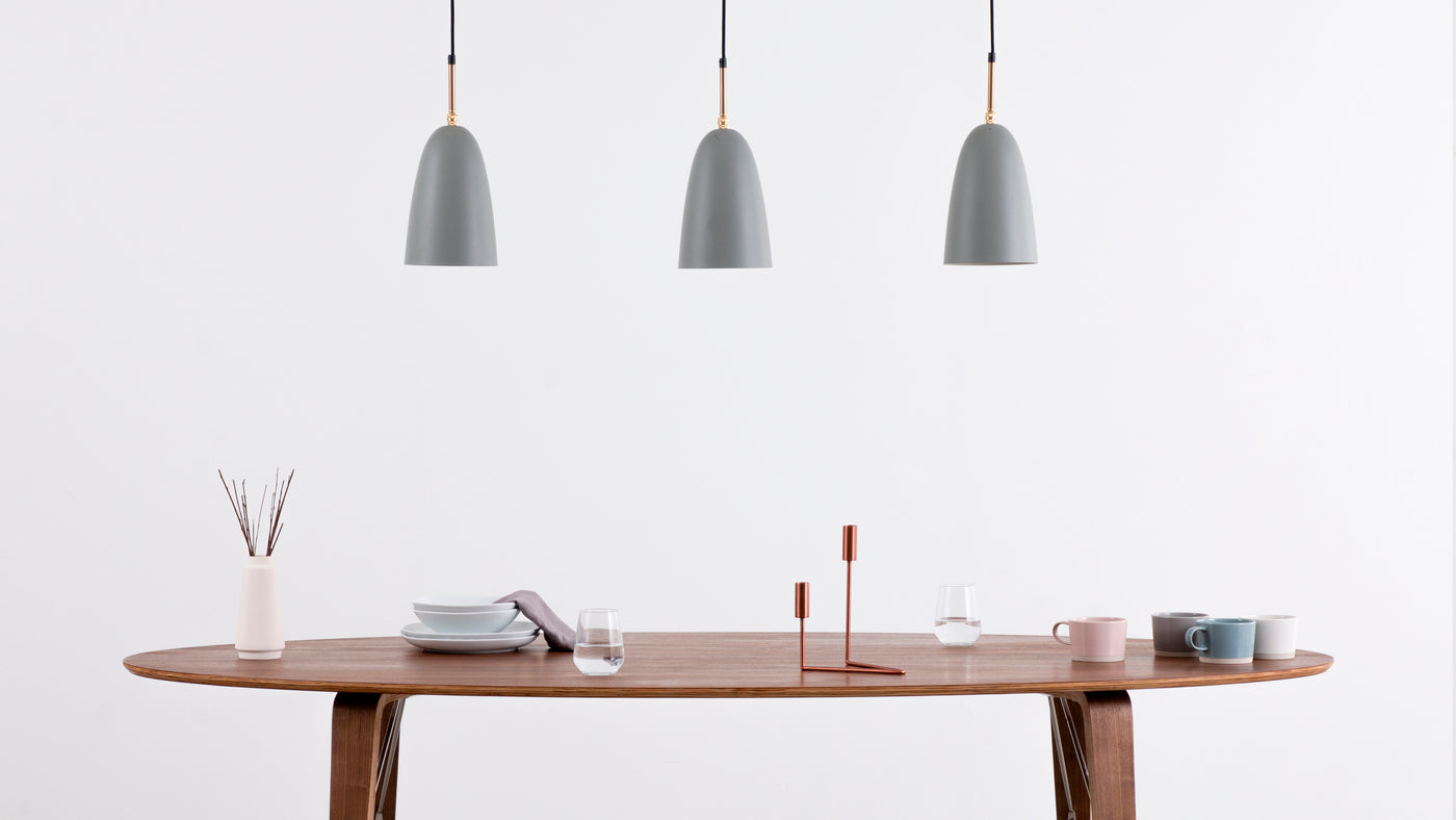 Sleek steel construction|Utilizing hardwearing steel to create this industrial suspension-style lighting solution, the Grasshopper Pendant Lamp is built to last.