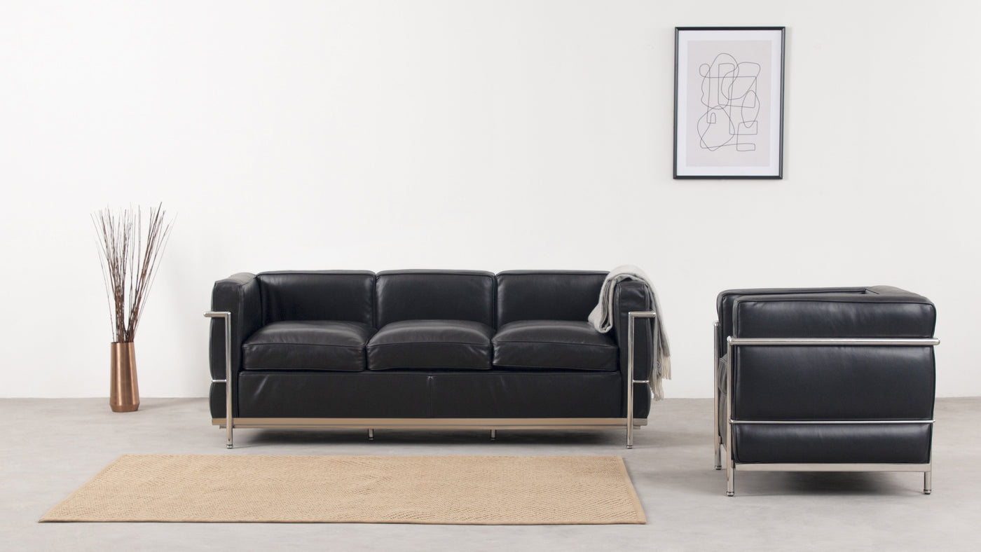 Contemporary elegance|Sleek steel and supple upholstery make this a contemporary seating solution that exudes elegance and grace. Timeless in its aesthetic, we recommend pairing this three-seater sofa with the compact two-seater version to maximize your home or business space.