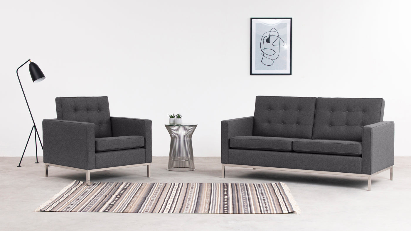 Style, meet comfort|Who says comfort and style can't coexist beautifully? This Florence Knoll Style Two-Seater Sofa offers both in a retro shape that has all the modern bells and whistles.