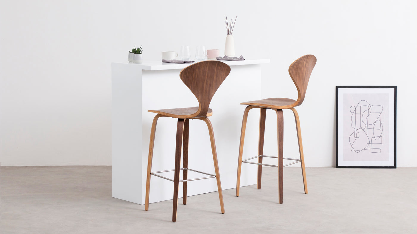Complexity meets minimalism|This innovative barstool is the perfect pairing of complex design features and a minimalistic aesthetic. The backrest is visually remarkable and the seat is surprisingly comfortable.