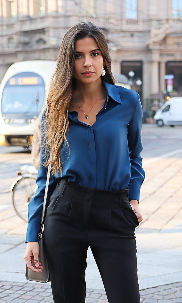Florence Silk Blouse - Midnight Navy
