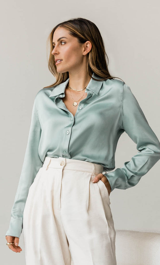 Monaco Silk Blouse - Sage Green