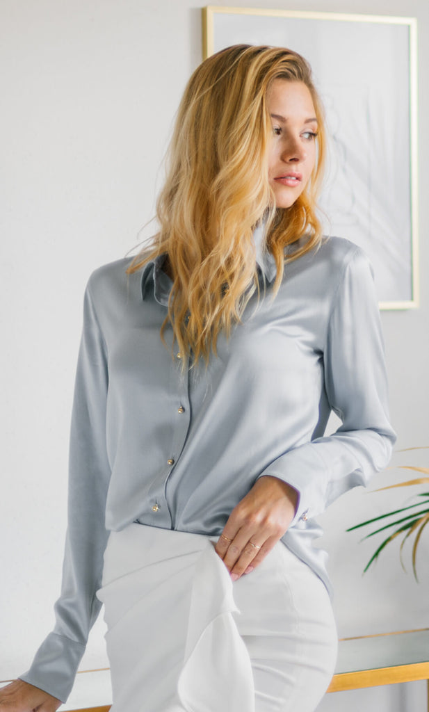 Milano Silk Blouse - Platinum Grey