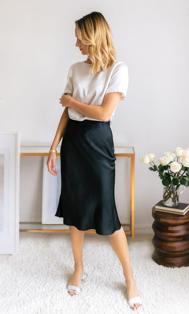 Alessa Silk Skirt - Caviar Black