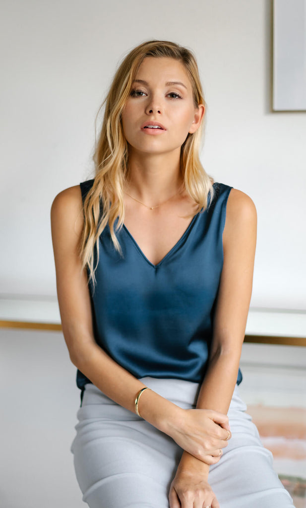 Amalfi Silk Tank - Midnight Navy