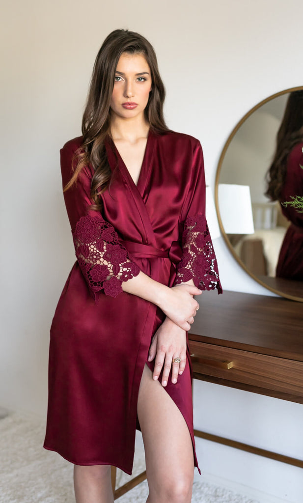Chantella Silk Robe with Lace - Burgundy Red