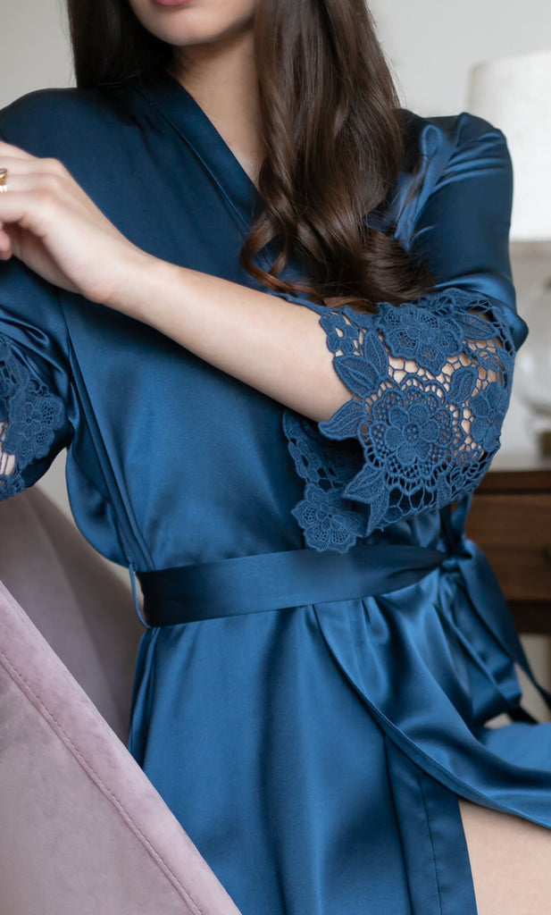 Chantella Silk Robe - Midnight Navy