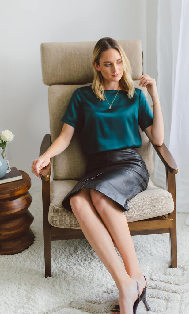 Emilia Silk Blouse - Emerald Green