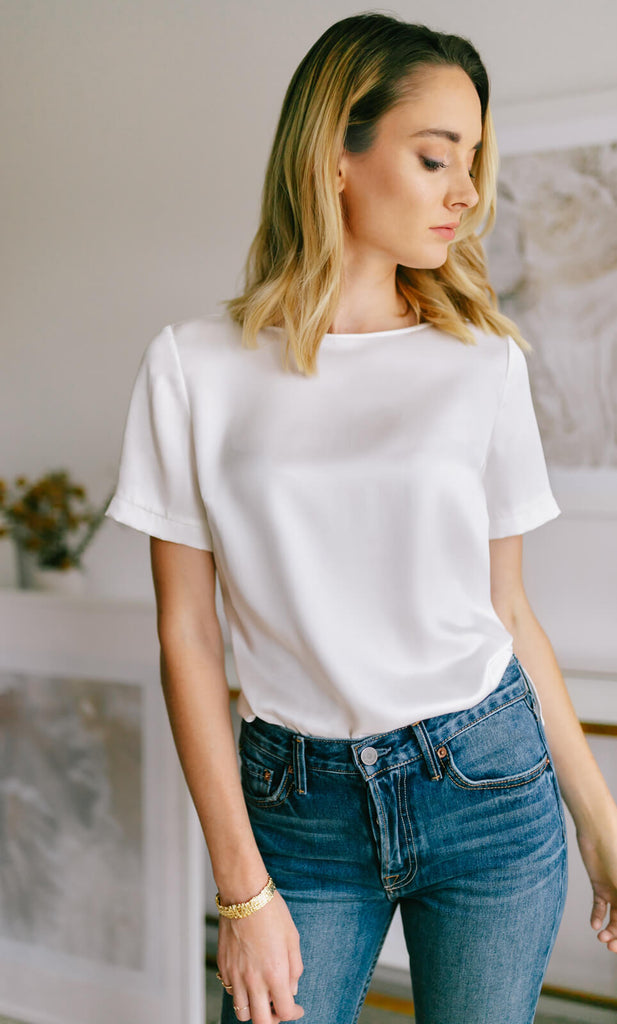 Emilia Silk Blouse - Pearl White
