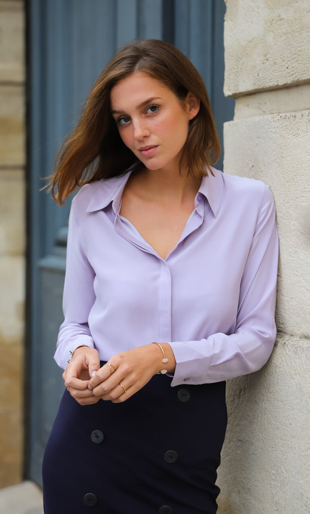 Florence Silk Blouse - Lavender Lilac