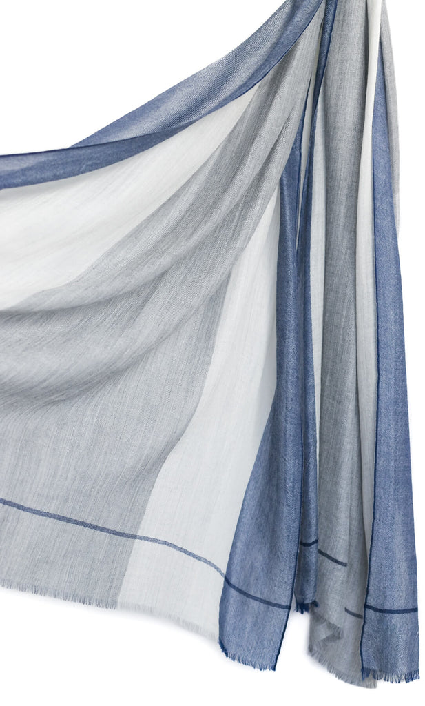 Aria Cashmere Scarf - Navy Blue / Grey / White