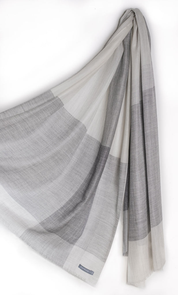 Aria Cashmere Scarf - Natural White / Grey