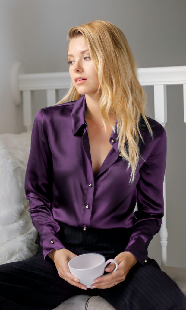 Milano Silk Blouse - Mulberry Purple