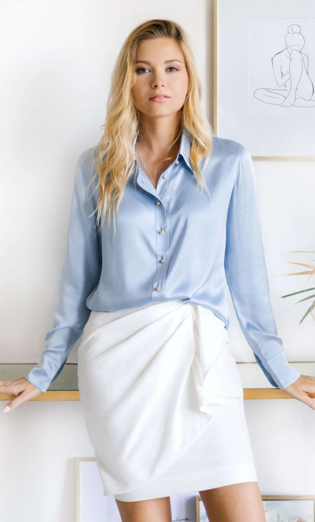 Milano Silk Blouse - Sky Blue