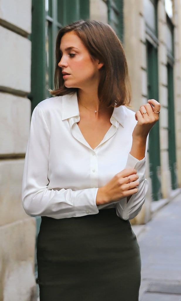 Monaco Silk Blouse - Pearl White