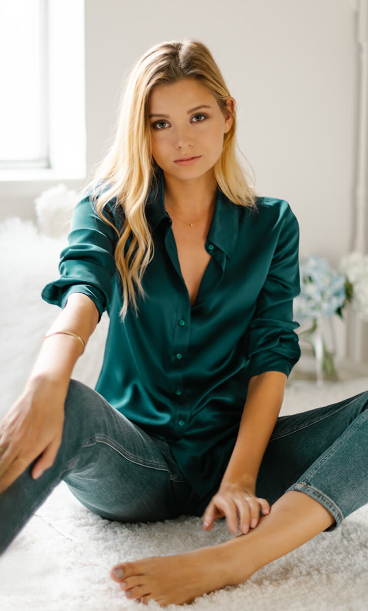 Monaco Silk Blouse - Emerald Green