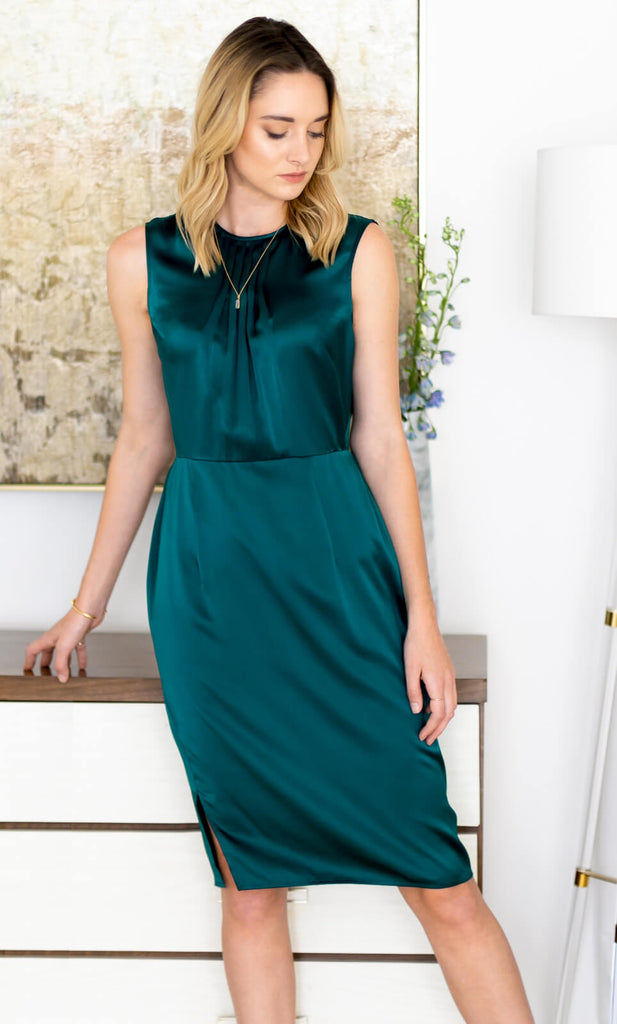 Rochelle Silk Dress - Emerald Green