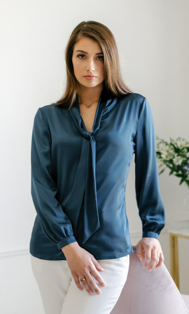 Vinci Silk Bow Blouse - Midnight Navy
