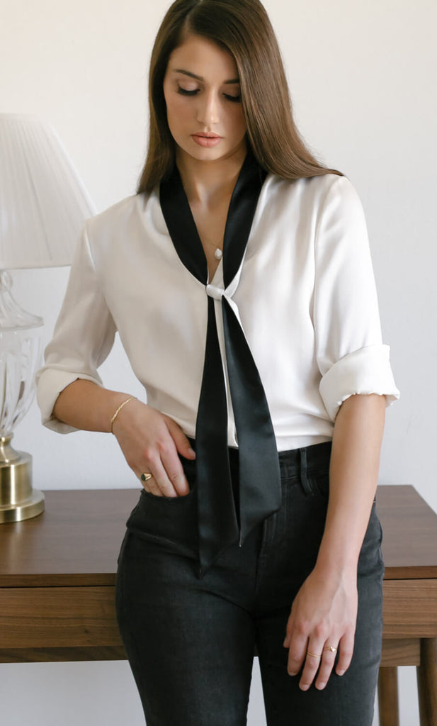 Vinci Silk Bow Blouse - Pearl White