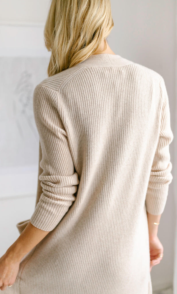 Winslet Cashmere Wrap Cardigan - Natural Oatmeal