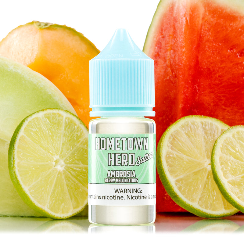 Artist Series Ambrosia Salted eJuice 30ml bottle with melons and fruit background