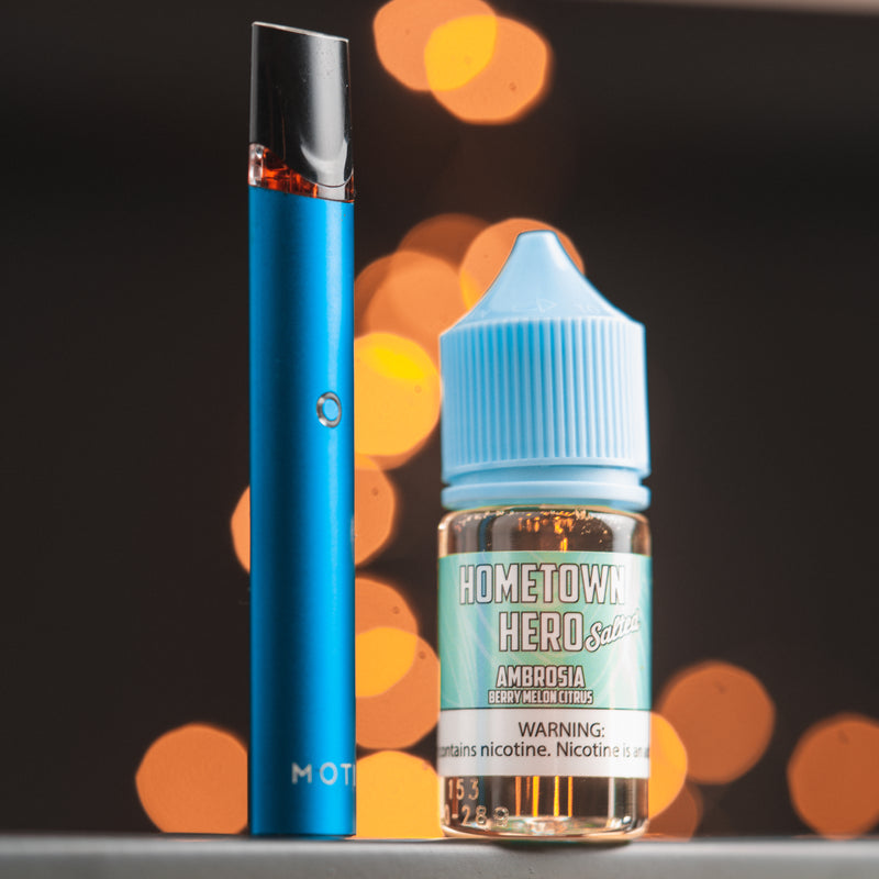 Ambrosia Salted eJuice with pod system vape device